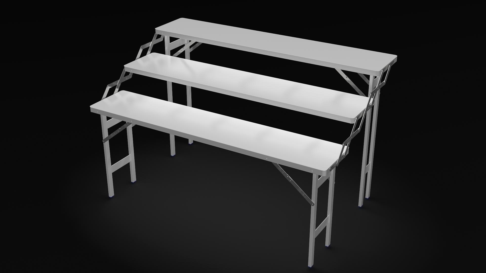 table en alu escalier 3 niv tbl3n wongleon fr fabricant de parasols et materiel forain. Black Bedroom Furniture Sets. Home Design Ideas